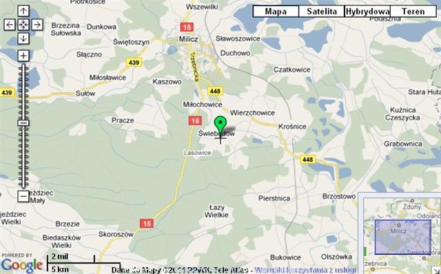 Przykładowy wygląd mapy śledzenia pozycji na trasie