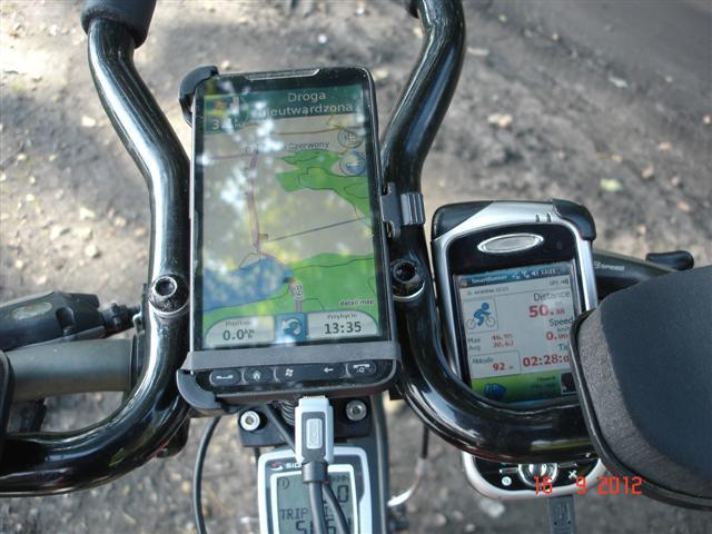 Sprzęty rowerowe, nawigacja HTC HD2 (Garmin XT) i tracker MIO A701